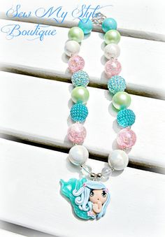 Mermaid Necklace for Girls/Beaded Mermaid by SewMyStyleBoutique