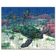 Gatterwe: Sea Turtle Puzzle: A sea turtle swims through the ocean! A wonderful undersea scene with tropic fishes, corals, anemone, sponge and Turtle Swimming, Corals, Puzzles, Tropical, Scene, Puzzle, Riddles
