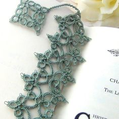 Lacy Handmade Bookmark, Delicate, Intricate Needle Tatting with Dangle | AllTheWrightStuff on ArtFire Shuttle Tatting Patterns, Needle Tatting Patterns, Tatting Jewelry, Tatting Lace, Tatting Tutorial, Sunbonnet Sue, Crochet Doily Patterns, Crochet Doilies, Crochet Bookmarks