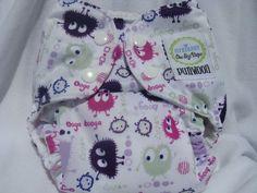 PuliWooli - Girly Ooga Booga OS Pocket Diaper - $16 (suedecloth or microfleece inner)