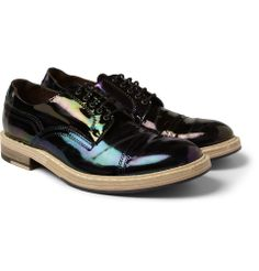 Acne - Askin Distressed Patent-Leather Derby Shoes|MR PORTER <3