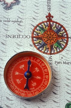 Red compass and rose compass