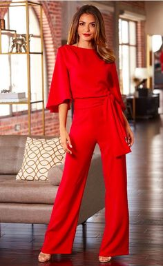 4a844338847 Love this Red Tie Waist Cape Jumpsuit By Alexia Admor ~ Today s Fashion  Item Red Jumpsuit