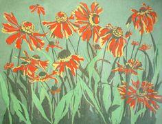 Wildflowers relief woodcut by LisaVanMeter on Etsy, $90.00