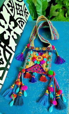 12b60c204 Mix Tribe Bright Boho Bag Bolsa Étnica, Saquinho De Crochê, Arte Em Cimento,