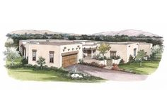 Number Eplans Adobe House Plan - Adobe Abode - 2582 Square Feet and 3 Bedrooms(s) from Eplans - House Plan Code Southwestern Home, Southwest Style, Adobe House, Desert Homes, Garden Tub, Garage Plans, Home Design Plans, Square Feet, House Plans