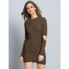 Army Green Long Sleeve Cut-Out Bodycon Dress ($18) ❤ liked on Polyvore featuring dresses, green, brown long sleeve dress, green dress, cut out dress, brown dress and olive green bodycon dress