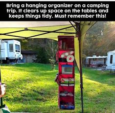 Camping Hacks with kids that are borderline genius! Awesome Dollar Store camping… Camping Hacks with kids that are borderline genius! Awesome Dollar Store camping hacks (or for glamping) to get organized when tent camping, RV, camper trailer or Camping Bbq, Todo Camping, Camping Info, Zelt Camping, Camping Survival, Family Camping, Outdoor Camping, Camping Outdoors, Camping Stuff