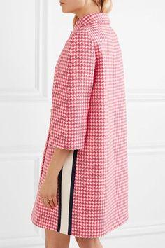 Prada - Paneled Houndstooth Wool Coat - Pink - IT
