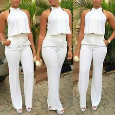 USD8.99Fashion Halter Neck Sleeveless Backless Drapes Design Solid White Polyester Two-piece Pants Set