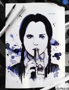 watercolor painting wednesday addams by charlien Wednesday Addams, Watercolor Paintings, Water Colors, Watercolour Paintings, Watercolor Painting