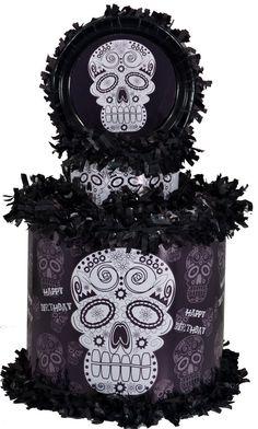 World of Pinatas - Sugar Skull Black and White Halloween Personalized Pinata, $39.99 (http://www.worldofpinatas.com/sugar-skull-black-and-white-halloween-personalized-pinata/)