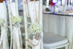 Chic White Wedding, Floral Chair Decor| Bella Collina | Concept Photography | Vangie's Events of Distinction