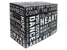 Punch Studio Organizer Boxes are a great way to get organized in style. Desktop File Box Inspired Words- This decorative file box features a color interior of Black. An outer design with captions of Dream, Realize, Peace, Laugh, Live For Today, Smile and more. Has an attached lid with a piece of ribbon to open with. Measures approximately 12 1/8x 9.5x 6. Colors include White, Black and Grey.