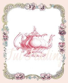 Tea Pot Card Digital Card Image Teapot Graphic Pink by TuiTrading
