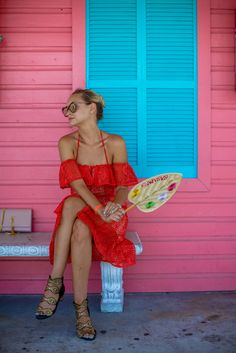 Wearing: Dress – Line & Dot, shoes – Kat Marconie, bag – Saint Laurent, sunglasses – Karen Walker, watch – Larsson and Jennings
