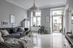 Beautiful grey living space - via Coco Lapine Design Modern Living Room Interior Designs and Furniture Diy Interior, Living Room Interior, Living Room Furniture, Living Room Decor, Living Spaces, Living Rooms, Glass Furniture, House Rooms, Black And White Furniture