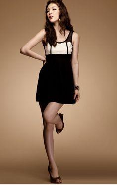 Mix Tone Fashion Dress Black