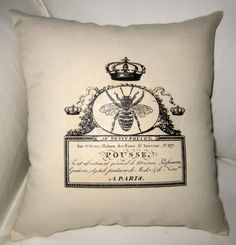 French Queen Bee Pillow, Shabby Chic Paris Inspired Cushion, Neutral Home Decor, Crown, Cotton, French Words, Typography. $14.79, via Etsy.
