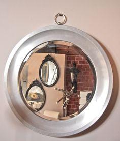 Round Steel Mirror by Sergio Mazza, Italy 1970s
