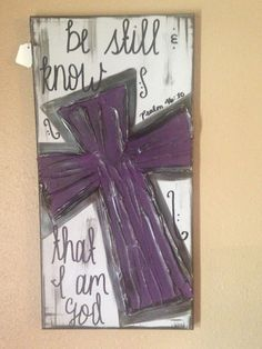 SALE - Be Still & Know that I am God Purple Gray Cross Textured Canvas