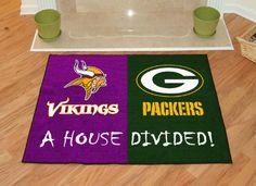 Vikings-Packers House Divided Welcome Mat