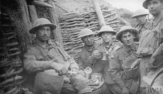 WWI, 19 Sept 1917; Battle of Menin Road Ridge: An Australian Battalion have tea and food in the first support trench on the evening before the battle on Westhoek Ridge. © IWM (E(AUS) 739)