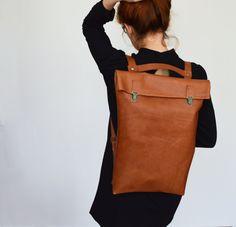 "17"" Minimalist Leather Backpack / Leather Rucksack / Messenger / Laptop / Tote…"