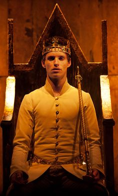 """...for within the hollow crown / That rounds the mortal temples of a king / Keeps Death his court and there the antic sits."" __Richard II, Act III, Scene 2. Credit: Eddie Redmayne  as King Richard II, Donmar Warehouse, 2012"
