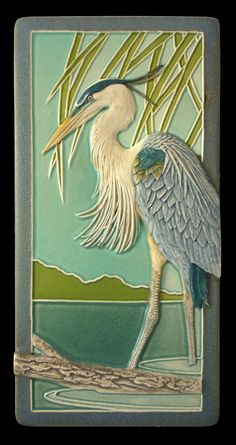 Art tile, Ceramic sculpture, tile, animal art, bird art,  Great Blue Heron 4x8 inches