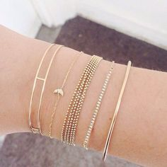 Delicate gold bracelets
