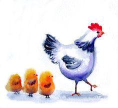 Mama Hen And Her Baby Chicks  8x10 inch  Art Print   http://www.etsy.com/listing/71551139/mama-hen-and-her-baby-chicks-8x10-inch