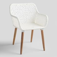 With its intricate white wicker weave and acacia wood legs with a natural oil finish, our dapper Blanca armchair strikes a stunning pose. Outdoor Dining Furniture, Outdoor Dining Chair Cushions, Dining Arm Chair, Rustic Furniture, Furniture Design, Patio Dining, Outdoor Living, Dining Table, Lounge Chairs