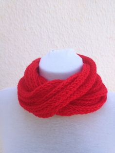 Red infinity scarf  wool