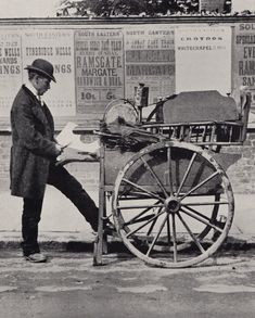 Knife Grinder - posed cutting out a kettle bottom from a tin sheet Photo by Charles Spurgeon the Younger (1884-1887)