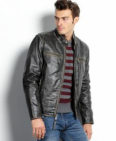Marc New York Big and Tall Jacket, Ryder Distressed Calf Leather Moto Jacket