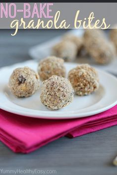 No-Bake Granola Bites, makes a bunch and stays in the fridge for healthy snacking throughout the week. Healthy Snacks For Kids, Healthy Treats, Healthy Desserts, Kid Snacks, School Snacks, Healthy Recipes, Quick Snacks, Delicious Desserts, Healthy Food