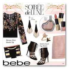"""""""Soirée de Luxe with bebe Holiday: Contest Entry"""" by louise-stuart ❤ liked on Polyvore featuring Crabtree & Evelyn, Bebe, Lizzie Fortunato Jewels, Acne Studios, Bee Goddess and NARS Cosmetics"""