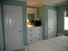 His & her closets and built in dresser.
