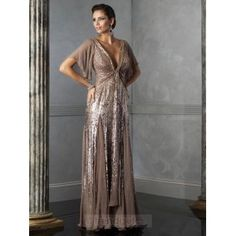 Young A-line V-neck Floor-length Chiffon Sequined Brown Mother Of The Bride Dresses