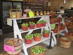 maybe a smaller version of this shelving unit filled with pies.... Oak Hill Orchards: Apple orchards and Roadside Stands in North Georgia