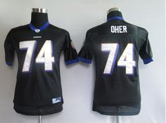 Oher Black Youth Jersey $19.99 This jersey belongs to Oher, Baltimore Ravens #74  Color: black, Size: M, L, XL, XXL, XXXL  The jersey is made of heavy fabric with nylon diamond weave mesh