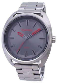 Features: Stainless Steel Case Stainless Steel Bracelet Quartz Movement Mineral Crystal Grey Sunray Dial Analog Display Pull/Push Crown Solid Case Back Deployment Clasp Water Resistance Approximate Case Diameter: 46 x Approximate Case Thickness: Stainless Steel Bracelet, Stainless Steel Case, Metallic Leather, White Leather, Diesel Watch, Online Watch Store, Black Accents, Watches For Men, Quartz