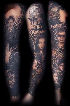 Addams Family Tattoo completed by Clint Cummings Movie Tattoos, 13 Tattoos, Disney Tattoos, Body Art Tattoos, Sleeve Tattoos, Cool Tattoos, Portrait Tattoos, Tattos, Family Sleeve Tattoo