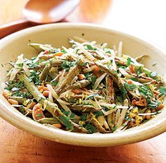 green beans with lemon, parmesan and i'll use almonds instead of pine nuts! thanks Sarah J. for sending the link and getting me hooked!