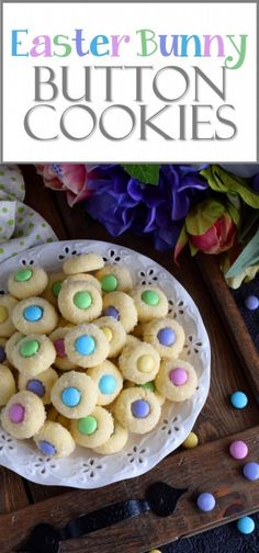 Easter Bunny Button Cookies Miniature, one-bite cookies made with pastel candy centers. Easter Bunny Button Cookies are a great Easter gift idea, or just save them all for yourself! Button Cookies, Great Desserts, Delicious Desserts, Yummy Food, Fun Food, Holiday Treats, Holiday Recipes, Family Recipes, Easter Brunch