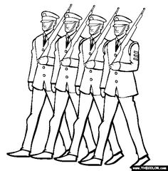 Free Veterans Day Coloring Pages. Color in this picture of Soldiers Marching and others with our library of online coloring pages. Memorial Day Poem, Memorial Day Pictures, Memorial Day Thank You, Memorial Day Coloring Pages, Veterans Day Coloring Page, Cute Coloring Pages, Coloring Sheets, Colouring, Remembrance Day Art