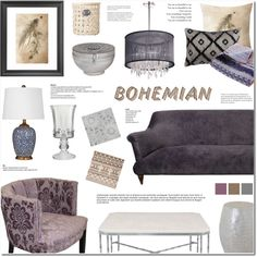 Home Decor - Bohemian Living Room by anyasdesigns on Polyvore featuring interior, interiors, interior design, hogar, home decor, interior decorating, Pinch, Dainolite, John-Richard and Jaipur