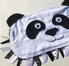 Panda Bear Ribbon Tag Baby Blanket White by LifeInTheSassLane, $24.00