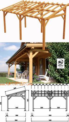 Abri terrasse bois à Pas Cher : Avent de terrasse en bois 15.33mc adossant 0700081